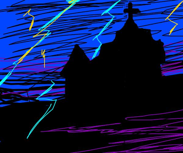 Lightning storm near a church