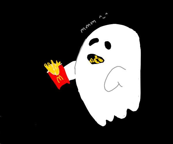 Immaterial ghost eating mcdonalds fries (yum)