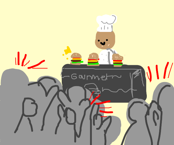 crowd cheers as chef makes gourmet burgers