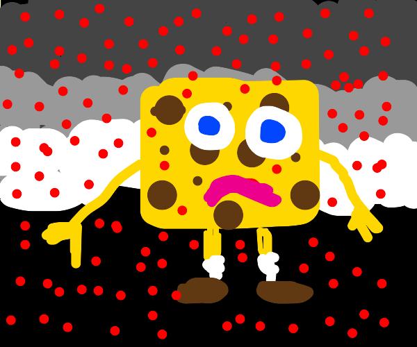 spongebob with blood raining on him