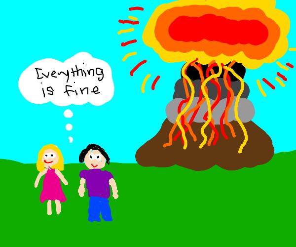 People ignoring a volcano explosion