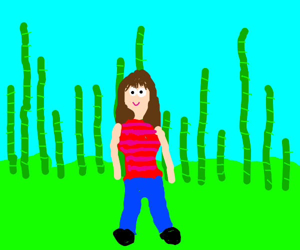 Girl in a bamboo field.
