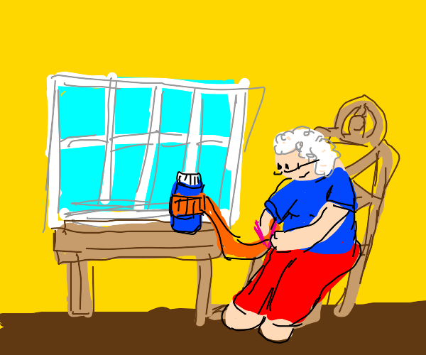 Grandma knits scarf for water bottle