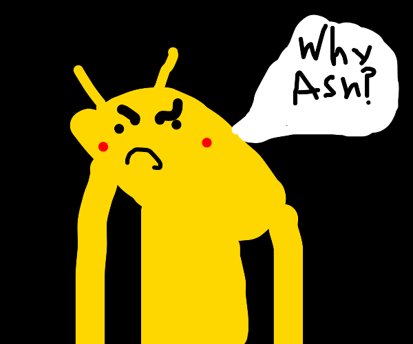 Pikachu is very angry at Ash.