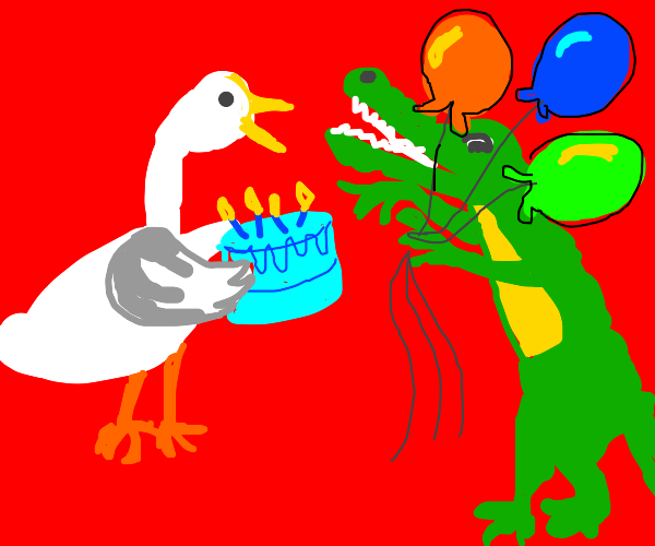 Goose and Gator throw a party