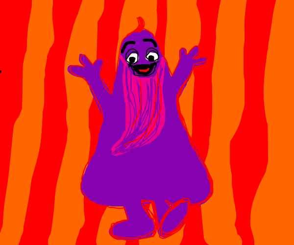 Grimace (McDonalds) with a giant beard