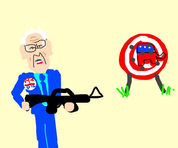 Democrat at a rifle range