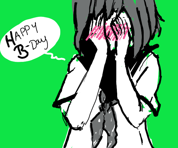 A blushing schoolgirl wishes you a happy bday