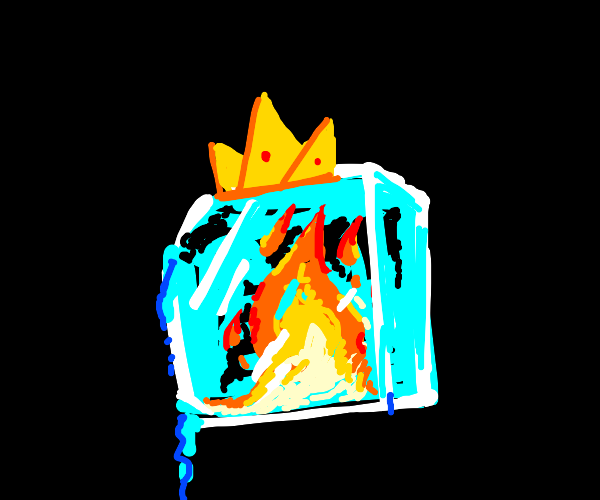 Fire and an ice cube with a crown