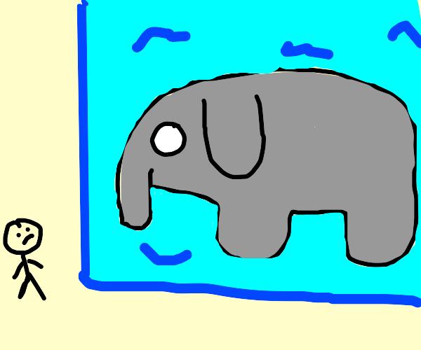 elephant frozen in an ice cube