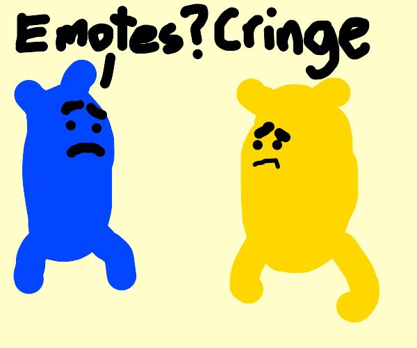 Blue makesfun of yellow forhavingfewer emotes