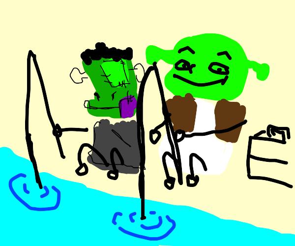 shrek and frankensteins son goes fishing