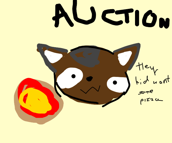 Raccoon auctioning Pizza