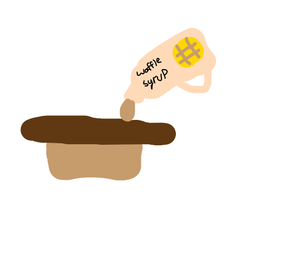 wafflesyrup drops on brown hotdog