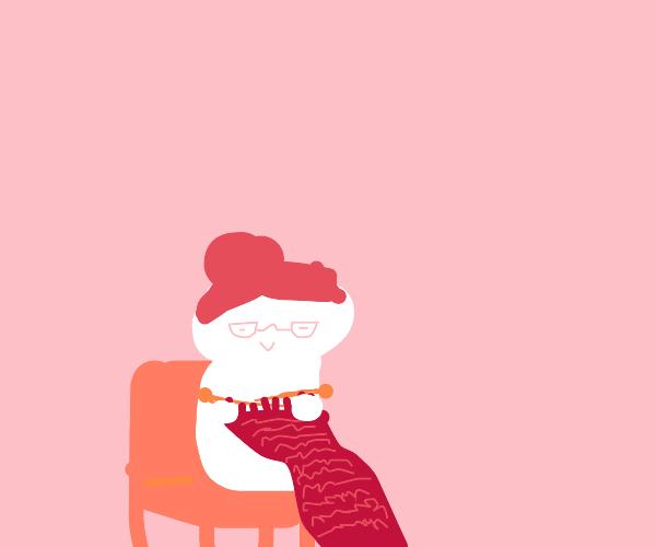 Elder Woman Knitting
