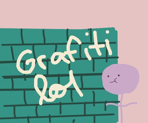 stickman looking at graffiti