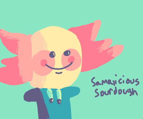 anthro axolotl named Somelius Sourdough