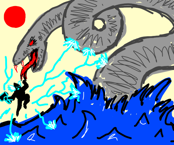 thor fighting a giant sea serpant
