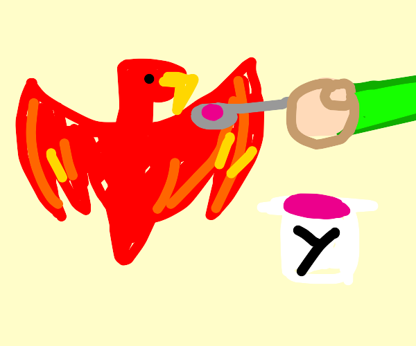Phoenix eating Yogurt