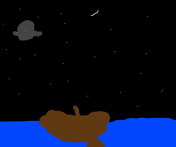 Rowboat alone on lake at night