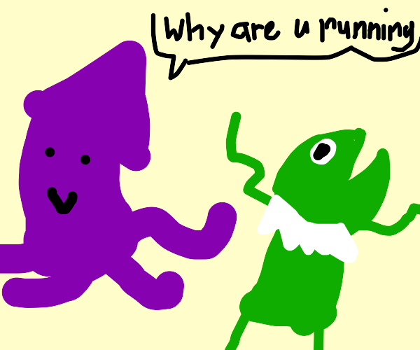 Squid chasing kermit