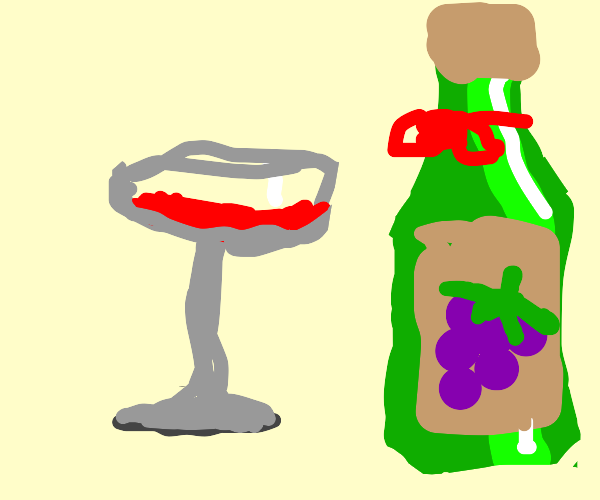 A glass and a bottle of wine