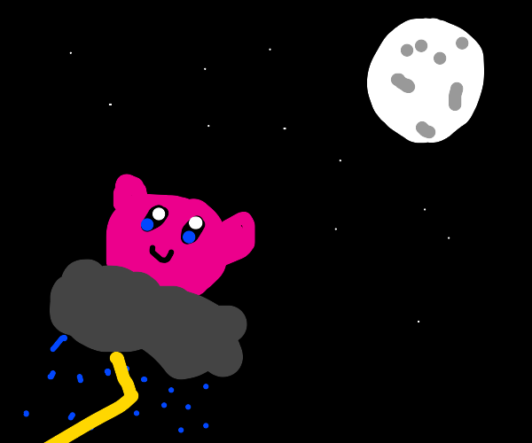 Kirby flies through the night on a stormcloud