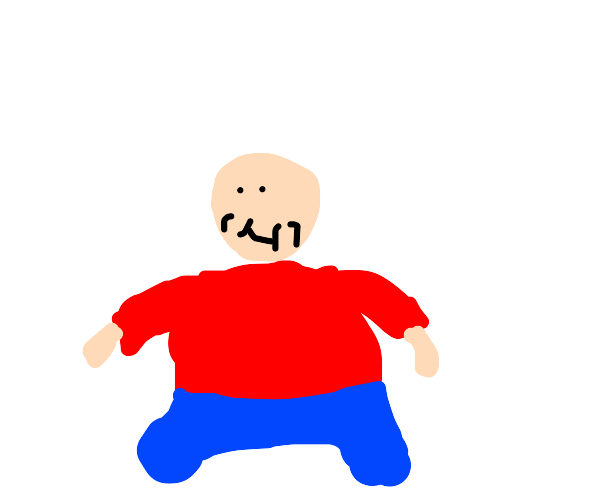 bald fat boy in jeans, red sweater