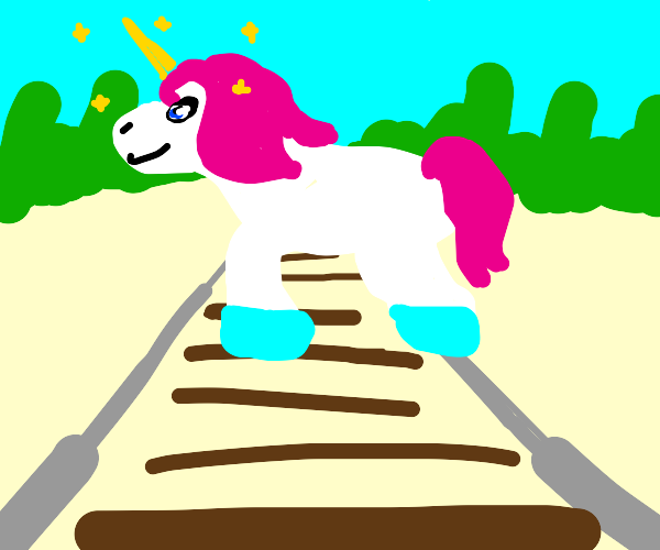 Unicorn crossing the Tracks
