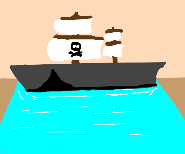 Pirate ship stuck in the waves