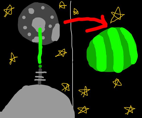 Masa turns moon into melon