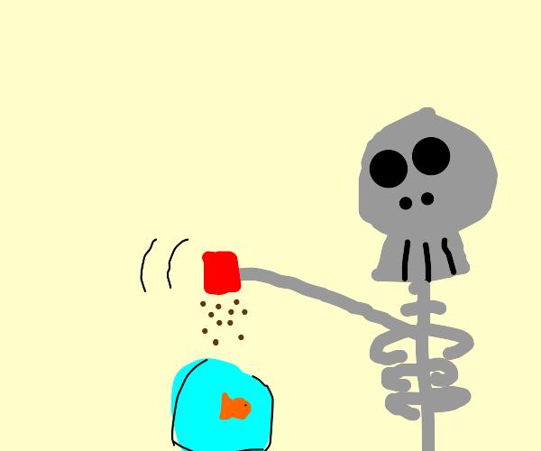 Skeleton feeds fish in bowl