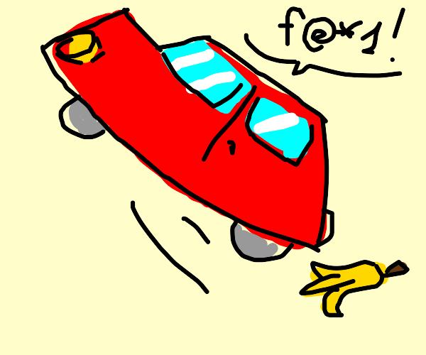 Car slips on banana peel
