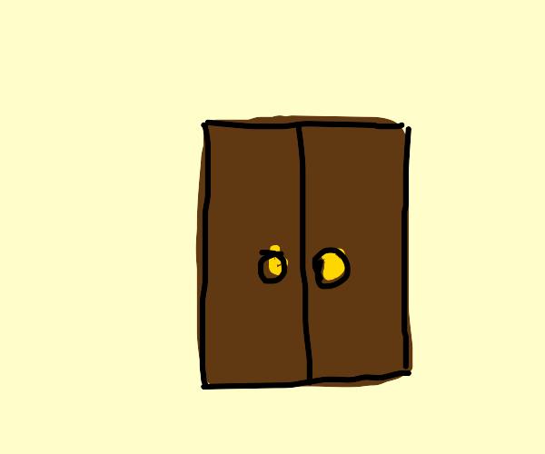 a dark brown door on a light yellow wall