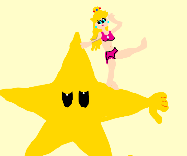 Sexy Princess Peach on a disapproving star