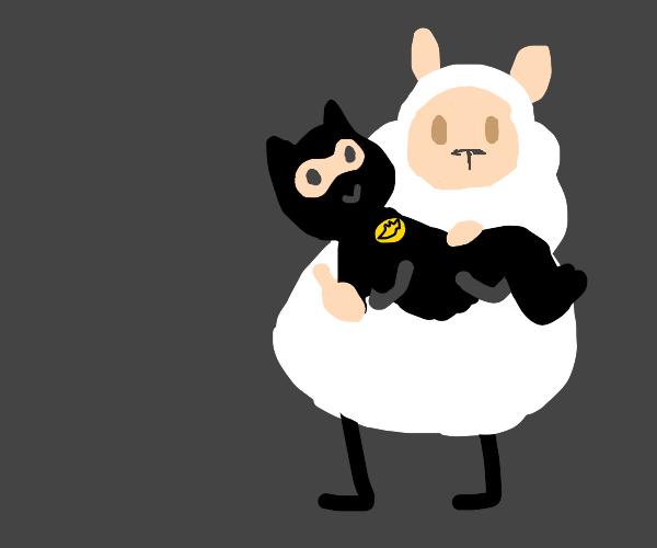 Sheep holding Batman
