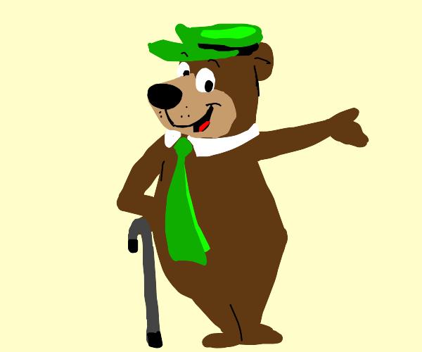 yogi bear with a cane