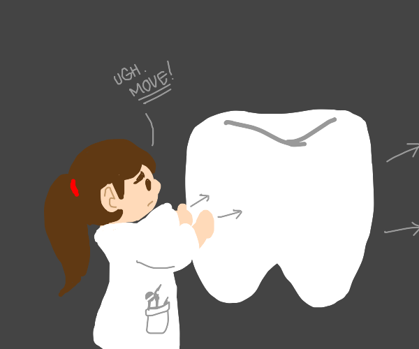 Dentist pushing an Object
