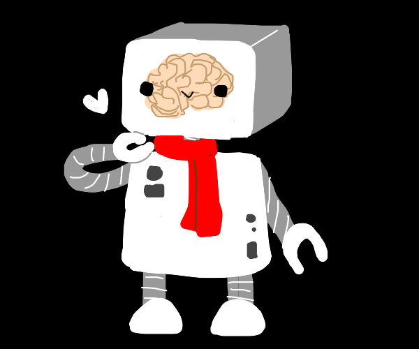 White cyborg with red scarf