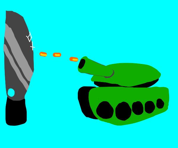 tank shoots knife