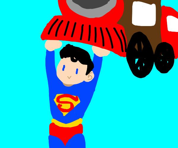Superman lifts train