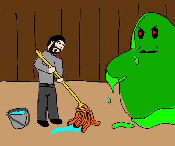 Janitor meets evil green blob