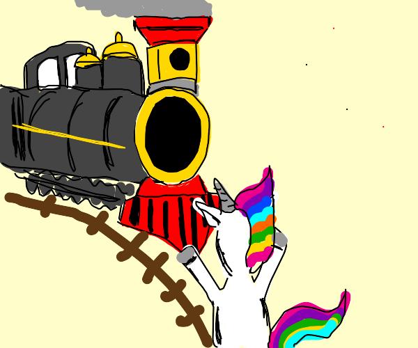 train hitting unicorn