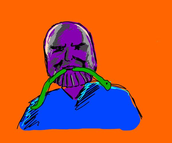 Casual Thanos eats a snake