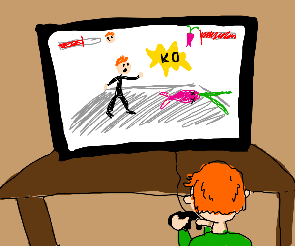 Child destroys radish in fighting game