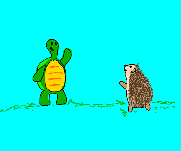 Turtle and hedgehog wave at each other