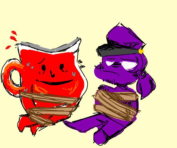 Kool aid man and fnaf purple guy captured