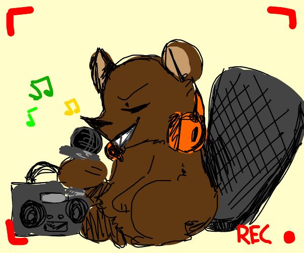 Beaver shooting his own rap video