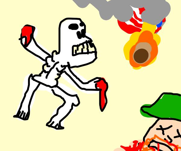 skeleton kills redneck, burns rebel flag :)