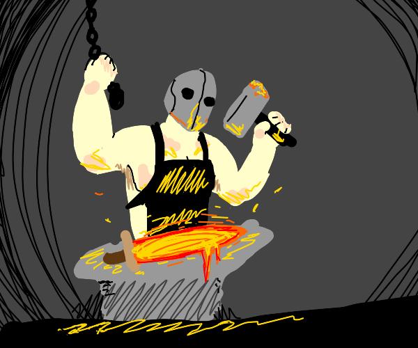 Blacksmith making a lava sword